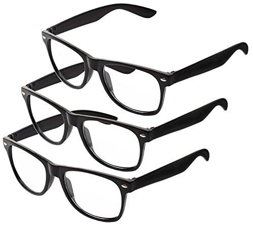 Nerd Sonnenbrille im Stil Retro Vintage Unisex Brille - Boolavard® TM (3 Paare Schwarz Klar)