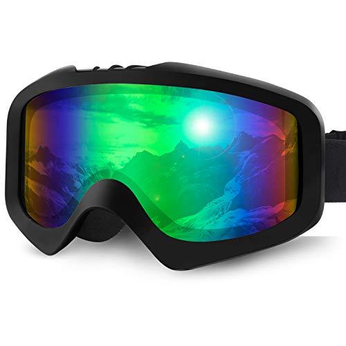 Karvipark Skibrille, Ski Snowboard Brille Brillenträger Schibrille Verspiegelt, Doppel-Objektiv OTG UV-Schutz Anti Fog Snowboardbrille Damen Herren Kinder für Skifahren Snowboard (Grün)