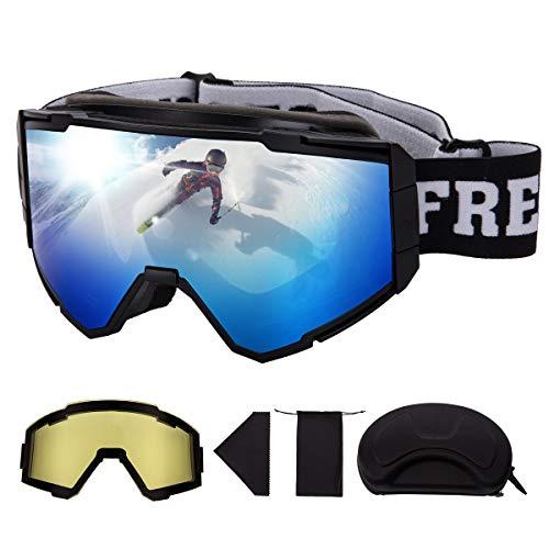 FREE SOLDIER OTG Skibrille für Herren, Damen & Jugendliche Skibrille für Brillenträger Snowboardbrille mit Verschiedenen Formen und Abnehmbarer Magnetlinse(Blau 14.2% VLT/Gelb 82.5% VLT)