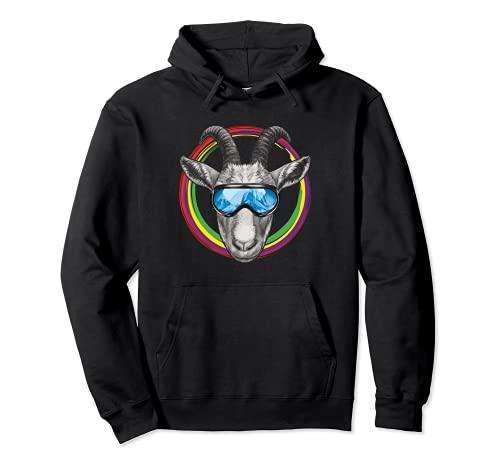 Lustige Ziege mit Skibrille im bunten Farbkreis Pullover Hoodie
