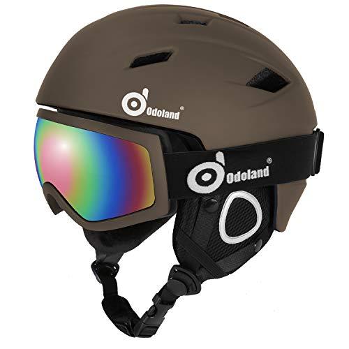 Odoland Skihelm und Skibrille Set, Snowboardhelm mit Snowboardbrille für Erwachsene und Kinder, Schneebrille UV 400 Schutz Windwiderstand Snowboard Brille zum Skifahren und Bergsteigen Braun L-57-59cm