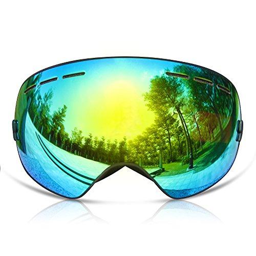 GANZTON Skibrille Snowboard Brille Doppel-Objektiv UV-Schutz Anti-Fog Skibrille Für Damen Und Herren Jungen Und Mädchen Schwarz