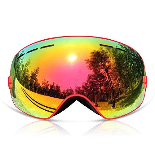 GANZTON Skibrille Snowboard Brille Doppel-Objektiv UV-Schutz Anti-Fog Skibrille Für Damen Und Herren Jungen Und Mädchen Rot