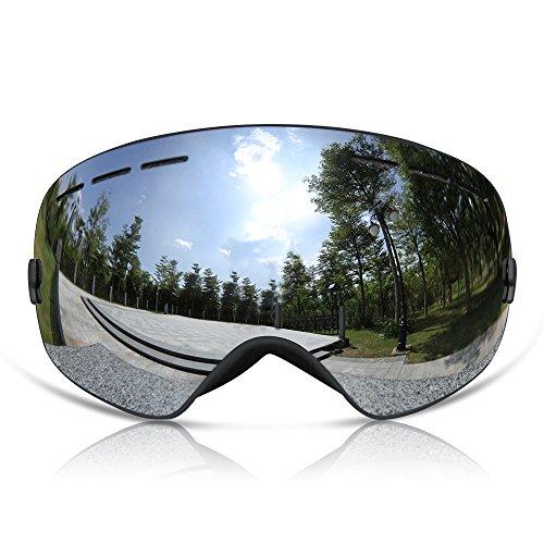 GANZTON Skibrille Snowboard Brille Doppel-Objektiv UV-Schutz Anti-Fog Skibrille Für Damen Und Herren Jungen Und Mädchen Silber