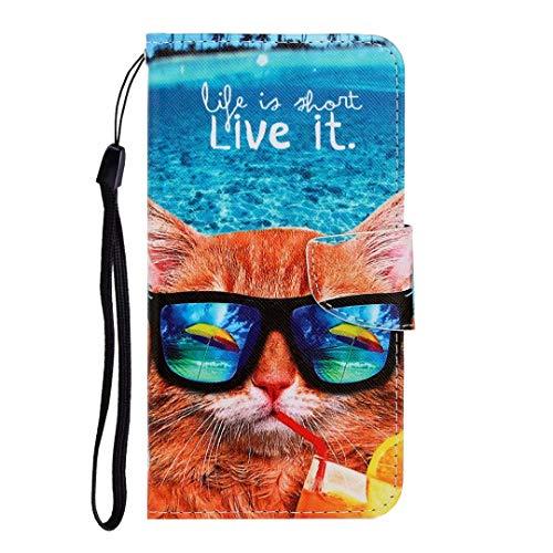 für Xiaomi Mi Note 10/Xiaomi Mi Note 10 Pro Hülle, Handyhülle Xiaomi Mi Note 10/Note 10 Pro Flip Case PU Lederhülle Schutzhülle Magnetverschluss Ledertasche mit Stander Brieftasche Tasche Brille Katze