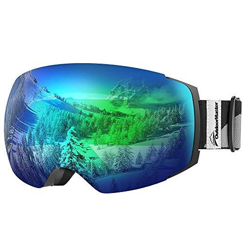 OutdoorMaster Unisex Skibrille PRO für Damen und Herren, Snowboard Brille Schneebrille 100% UV-Schutz Skibrille für brillenträger, Anti-Nebel Snowboard Brille Ski Goggles für Jungen und Mädchen