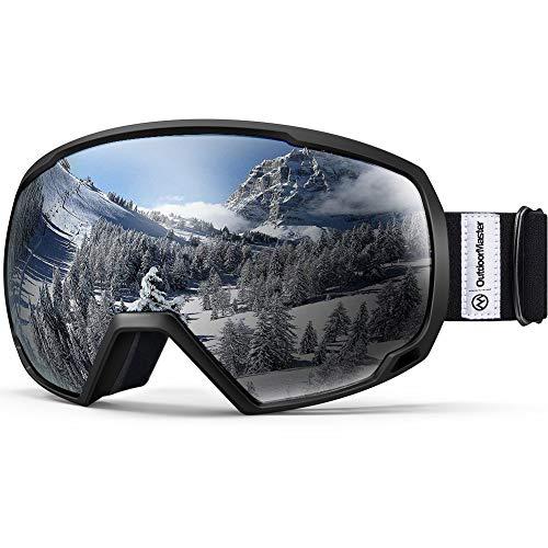 OutdoorMaster Unisex Skibrille für Damen und Herren, Snowboard Brille Schneebrille OTG 100% UV-Schutz Skibrille für brillenträger, Anti-Nebel Snowboard Brille Ski Goggles für Jungen