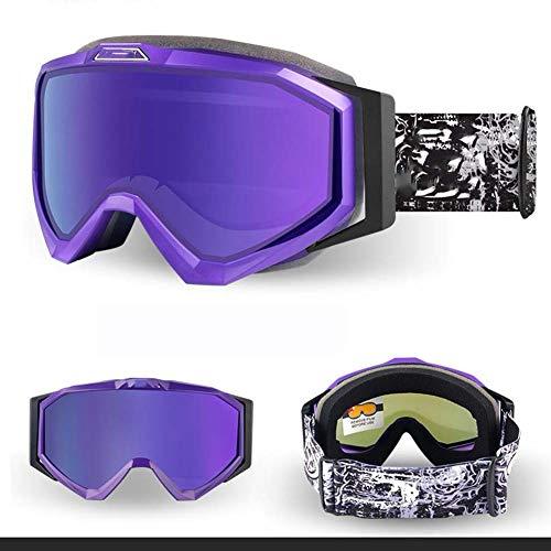 Lying Professionelle Outdoor-Skibrille Doppelschicht Antibeschlag- und UV-Schutz TPU Weiche Rahmen Schichten Schwamm Stoßdämpfung atmungsaktiv und komfortabel, Damen, violett