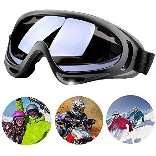 Bibykivn Motorradbrillen Goggle - Anti Winddichter UV-Schutz Verstellbarer Skibrille Helmkompatible Fahrrad Sportbrille für Skifahren Skaten Draussen Radfahren (Grau)
