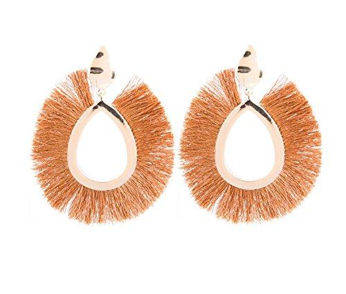 Pnizun F?cherf?rmig Ethnische Bohemian Lange Quaste Silk Ohrringe Metalllegierung Statement Ohrringe Weinlese-Bolzen-Ohrring-Frauen [Braun]