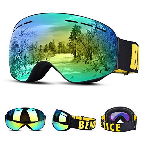 Upgrow Skibrille Skifahren Brille Schneebrille mit Anti-Nebel und UV-Schutz, Großes Sichtfeld Kletterspiegel Kletterbrille Skibrille Für Herren und Damen (Gelb)