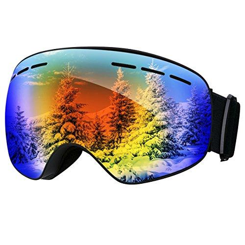 OMORC Skibrille, Snowboardbrille Fahmenlose Linse 100% UV-Schutz Anti-Nebel Skibrille Für Damen und Herren/Jungen und Mädchen (Blau)